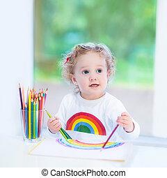 volgende, venster, lachen, ga, meisje, toddler, tekening, vrolijke