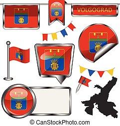 volgograd, bandera, brillante, iconos