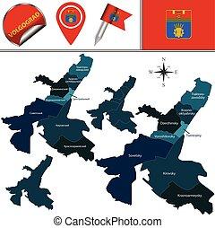 volgograd, mapa, distritos