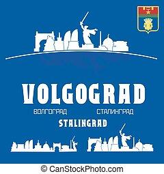 volgograd, perfil de ciudad, rusia