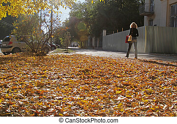 Volgograd, Russia - October 12, 2014: A woman is walking down the street in the fall in Volgograd