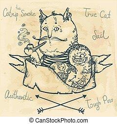volhardend, -, illustratie, kat, getrokken, hand
