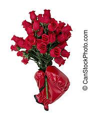 volhardend, liefde, van, rozen