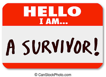 volharding, levend, overlevende, nametag, ziekte, hallo