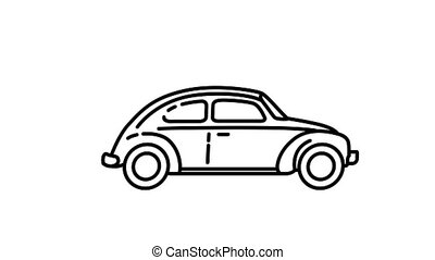 Volkswagen Beetle 1200 line icon on the Alpha Channel - ...