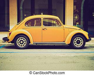 volkswagen, sárga, bogár