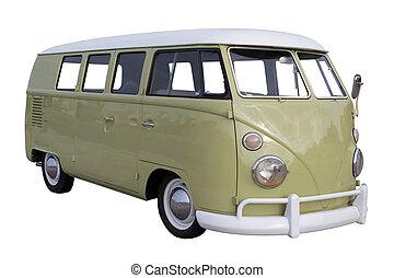 Volkswagen Van - A restored Volkswagen Van isolated on White