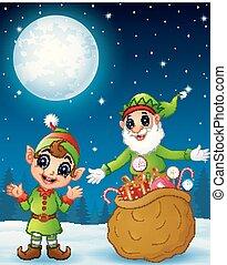 voll, altes , weihnachtshelfer, sack, weihnachtsgeschenke, karikatur, geschenk, kind