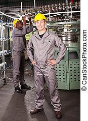 voll, arbeiter, fabrik, gewebe, länge, porträt