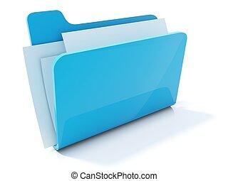 voll, blaues, büroordner, ikone, freigestellt, weiß