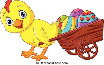 voll, eier, karren, ziehen, baby kücken, ostern, karikatur