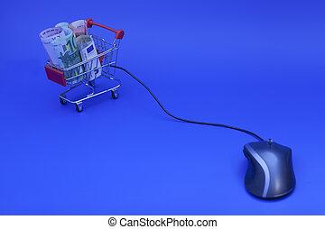 voll, einkaufswagen, banknoten, computermaus, euro