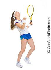 voll, erfolg, jubel, tennisspieler, länge, porträt,...