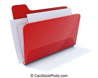 voll, freigestellt, büroordner, weiß rot, ikone