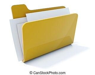 voll, freigestellt, gelber , büroordner, weißes, ikone
