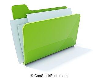 voll, freigestellt, grün, büroordner, weißes, ikone