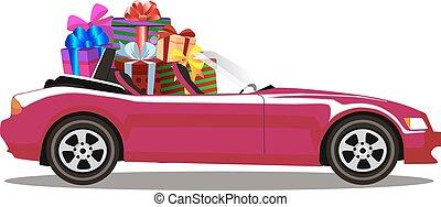 voll, geschenk, cabriolet, lila, auto, modern, freigestellt, kästen, karikatur