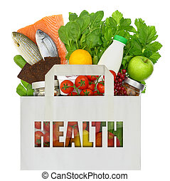 voll, gesunde, freigestellt, tasche, essen, papier, weißes