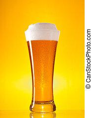 voll, glas bier, mit, bierschaum