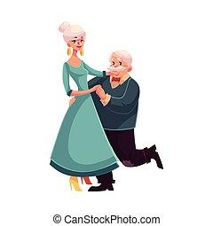voll, höhe, porträt, von, altes , ältere paare, tanzen zusammen