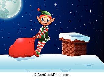 voll, oberseite, weihnachtshelfer, dach, geschenke, tasche, ziehen, karikatur