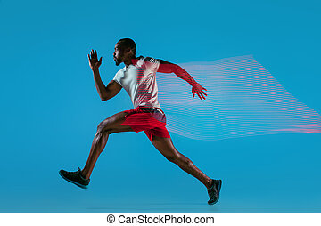 voll, rennender , muskulös, junger, länge, aktive, porträt, mann