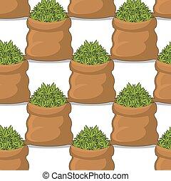 voll, sack, von, cannabis, seamless, pattern., tasche, marihuana, hintergrund., qualmende , droge, ornament., hanf, beschaffenheit