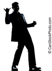 voll, silhouette, länge, salutieren, mann, glücklich