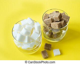 voll, ungesund, concept., diät, zucker, glas, würfel