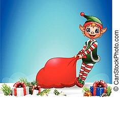 voll, weihnachtshelfer, geschenke, tasche, ziehen, hintergrund, weihnachten