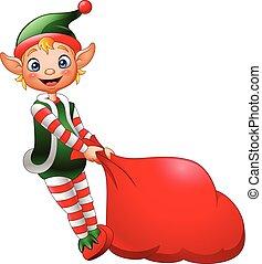 voll, weihnachtshelfer, geschenke, tasche, ziehen, karikatur