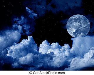 voll, wolkenhimmel, sternen, mond