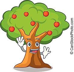volle, appelboom, vrijstaand, zwaaiende , mascotte