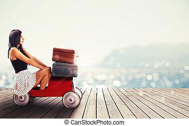 volle, auto, reizen, kleine, gereed, baggages, meisje