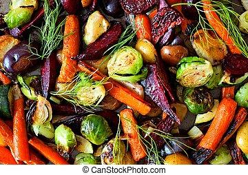 volle, boven, kleurrijke, groentes, herfst, achtergrond, geroosterd, aanzicht