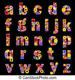 volle, brieven, alfabet, vrijstaand, floral, black-, z