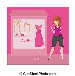 volle, dame, chooses, jurken