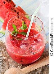 volle, detail, waterglas, meloen, gemengd, rood