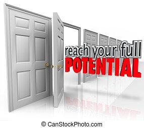 volle, deur open, bereiken, potentieel, woorden, gelegenheid, jouw, 3d