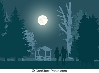 volle, gazebo, paar, avond lucht, jonge, wandeling, bos, onder, maan