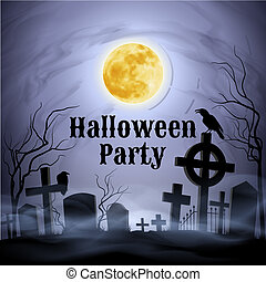 volle, graveyard, spooky, halloween, maan, onder, feestje