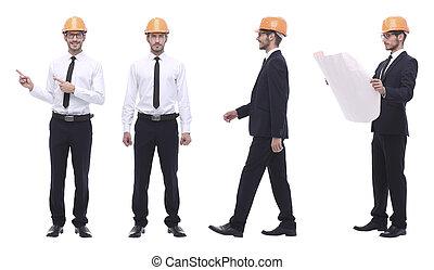 volle, groei, .competent, ingenieur, architect, witte , vrijstaand