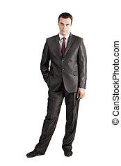 volle, hand, zak, vastknopen, lengte, kostuum, zakenman