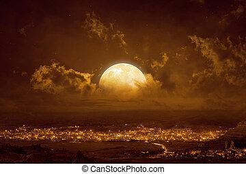 volle, hemel, gele maan, gloeiend, opstand, rood