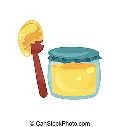 volle, houten, pot, illustratie, honing, glas, waterspreeuw, vector