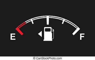 volle, illustration., vector, meten, lege, brandstof, jouw, signs., design.