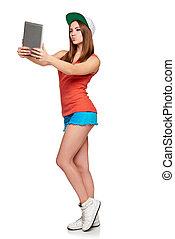 volle länge, sportliche , weibliche , mit, digital tablette