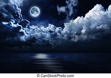 volle maan, in, avond lucht, op, water