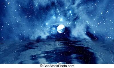 volle maan, op, bewateer weerspiegeling