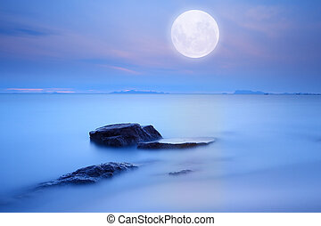 volle maan, op, blauwe , zee, en, hemel, blootstelling, techniek